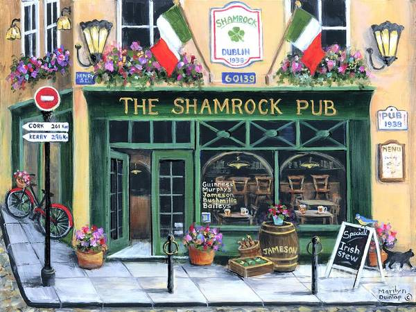 Wall Art - Painting - The Shamrock Pub by Marilyn Dunlap
