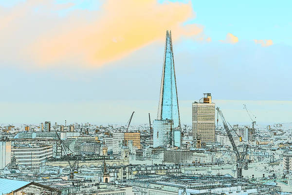 Photograph - The Shard Outline Poster by Gary Eason