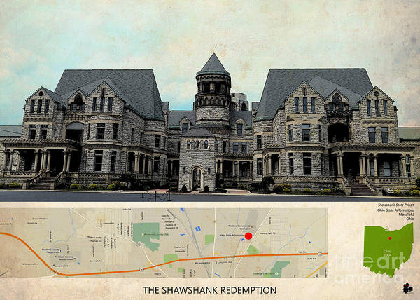 Redemption Painting - The Shawshank Redemption Film Location, Ohio Map  by Drawspots Illustrations