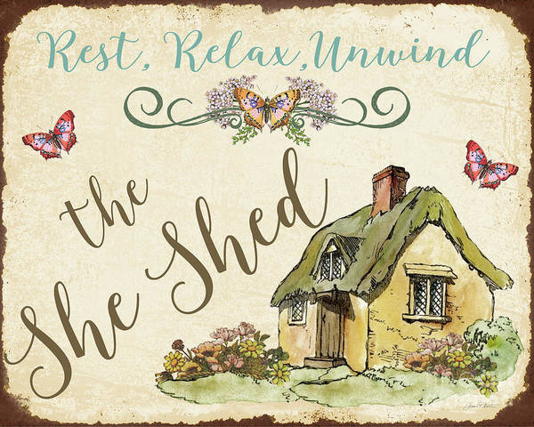 Wall Art - Painting - The She Shed-b by Jean Plout