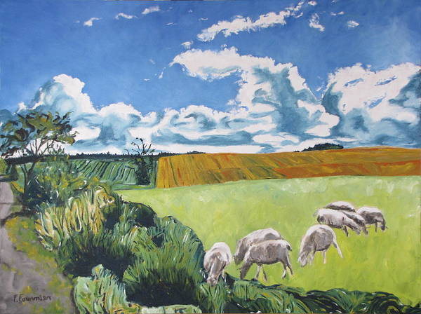 Wall Art - Painting - The Sheep Along The Road by Francois Fournier