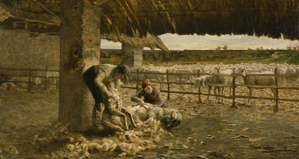 Painting - The Sheepshearing by Giovanni Segantini