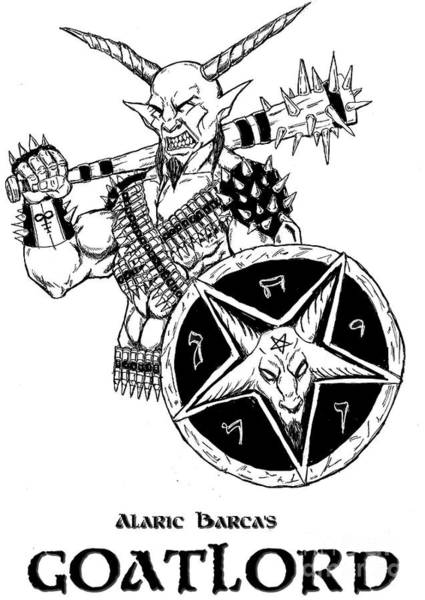 Demonic Drawing - The Sheild White Version by Alaric Barca