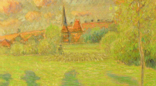 Wall Art - Painting - The Shepherd And The Church Of Eragny by Camille Pissarro
