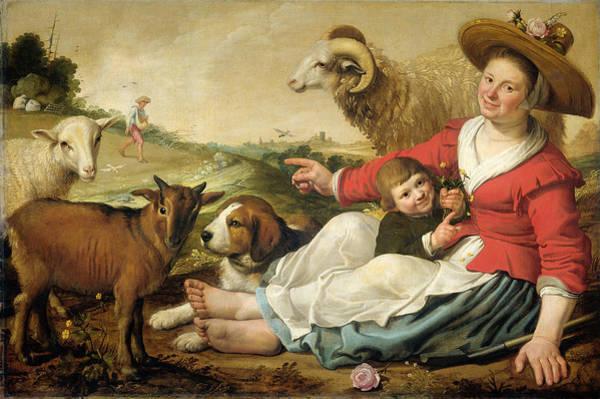 Cuyp Wall Art - Painting - The Shepherdess by Jacob Gerritsz Cuyp