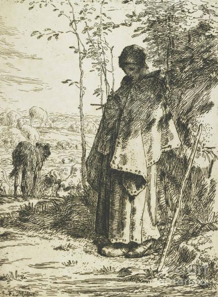 The Shepherdess Wall Art - Drawing - The Shepherdess Knitting, 1862 by Jean-Francois Millet