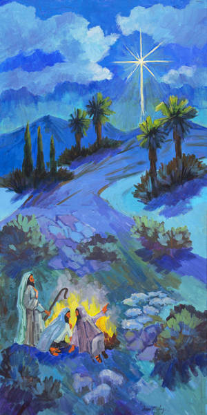 Wise Man Wall Art - Painting - The Shepherds And The Star by Diane McClary