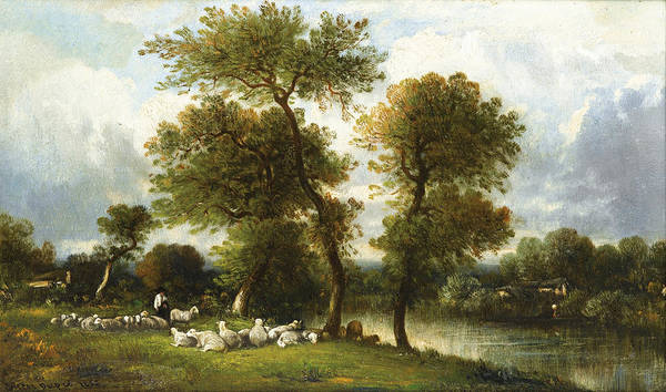 Wall Art - Painting - The Shepherd's Break With  His Sheep by Leon-Victor Dupre