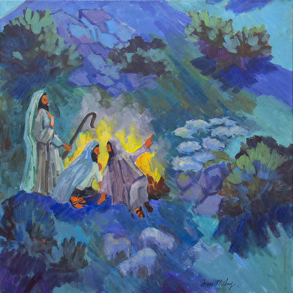 Wise Man Wall Art - Painting - The Shepherds by Diane McClary