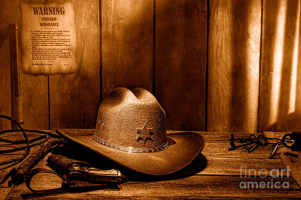 Copyright Wall Art - Photograph - The Sheriff Office - Sepia by Olivier Le Queinec