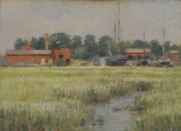 Painting - The Ship Yard, Cos Cob by Theodore Robinson