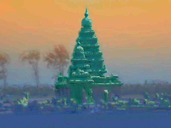 Usha Painting - The Shore Temple by Usha Shantharam