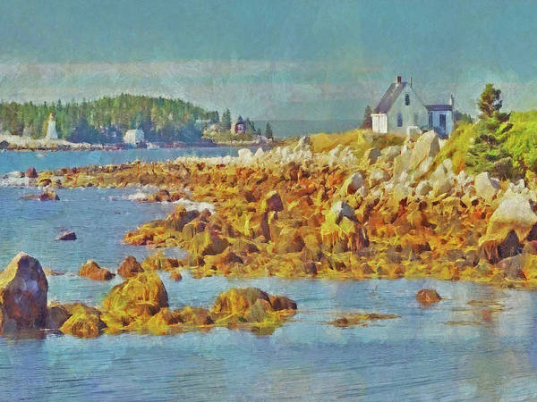 Digital Art - The Shoreline At Peggy's Cove In Nova Scotia by Digital Photographic Arts