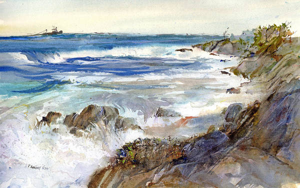Wave Breaking Painting - The Shores Of Falmouth by P Anthony Visco