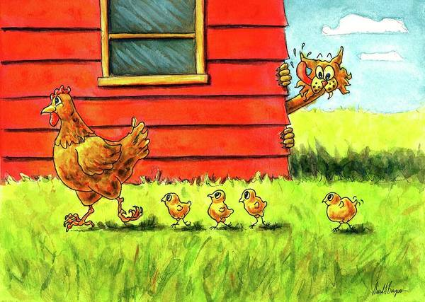Tats Painting - The Short Happy Life Of Chicken Licken by David Burgess