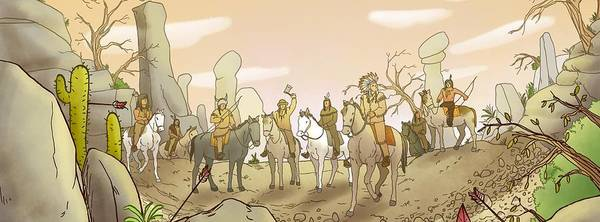 Painting - The Shoshone Hunting Party by Reynold Jay