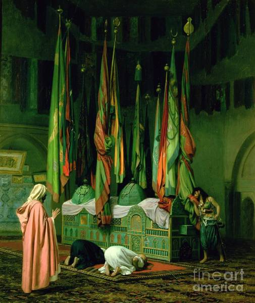 Kneeling Painting - The Shrine Of Imam Hussein by Jean Leon Gerome