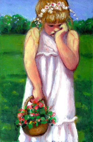 Wall Art - Pastel - The Shy Flower Girl by Joyce Geleynse