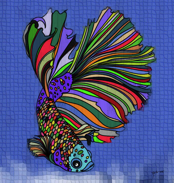 Follow Me Painting - The Siamese Fighting Fish by Rani S Manik