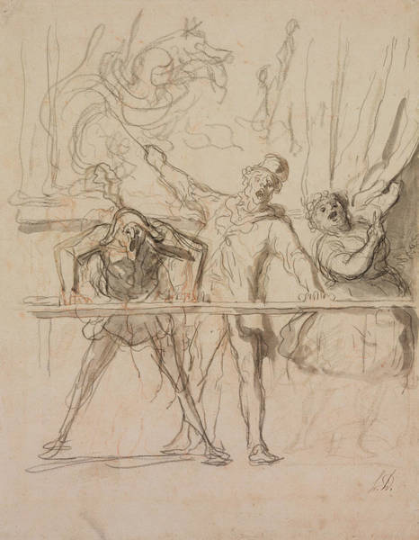 French Artist Drawing - The Side-show  by Honore Daumier