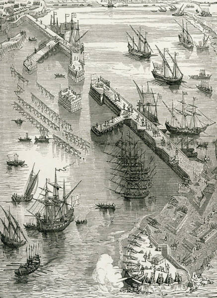 Pier Drawing - The Siege Of Rochelle by French School