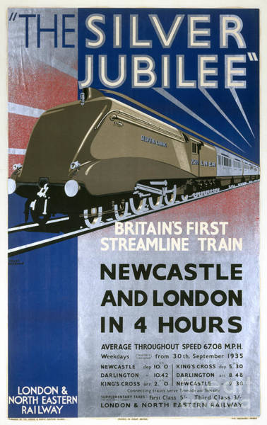 Newcastle Digital Art - The Silver Jubilee Britains First Streamline Train Lner Poster 1935 by R Muirhead Art