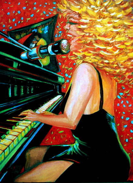 Piano Bar Painting - The Singer At Shuckers by Jeanette Jarmon