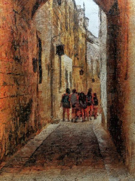 Digital Art - The Singing Girls, M'dina, Malta by Leigh Kemp