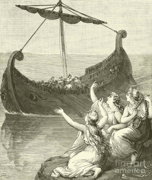 Wall Art - Drawing - The Sirens Imploring Ulysses To Stay by English School