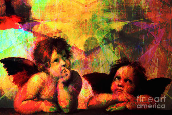 Sistine Wall Art - Photograph - The Sistine Modonna Baby Angels In Abstract Space 20150622 by Wingsdomain Art and Photography