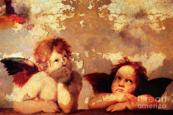 Sistine Chapel Wall Art - Photograph - The Sistine Modonna Baby Angels In Rust 20150622 by Wingsdomain Art and Photography