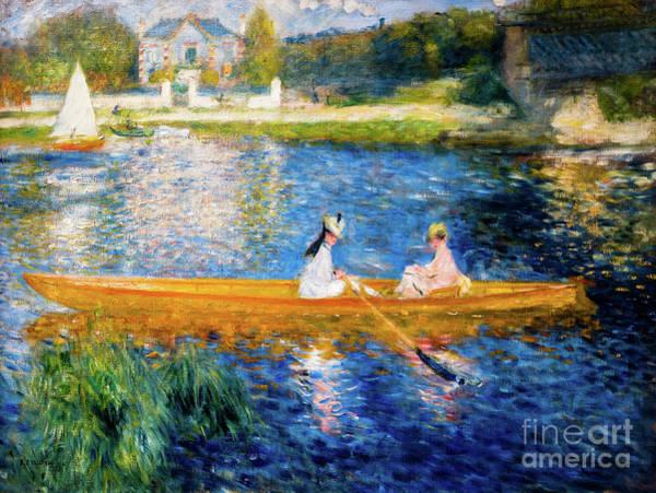 Painting - Renoir Boating On The Seine by Auguste Renoir