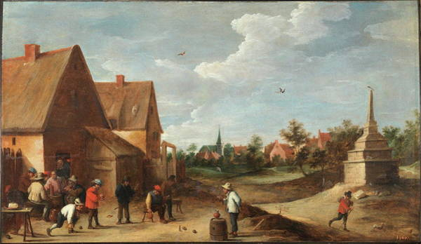 Country Club Painting - The Skittles Game by Teniers David