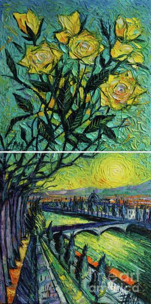 Wall Art - Painting - The Sky Of Yellow Roses - Diptych Oil Painting by Mona Edulesco