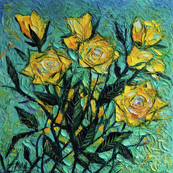 Wall Art - Painting - The Sky Of Yellow Roses Diptych - Upper Panel by Mona Edulesco