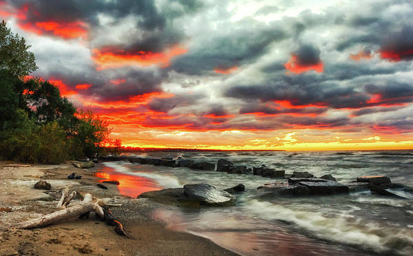 Wall Art - Photograph - The Sky On Fire At Sunset On Lake Erie by Richard Kopchock