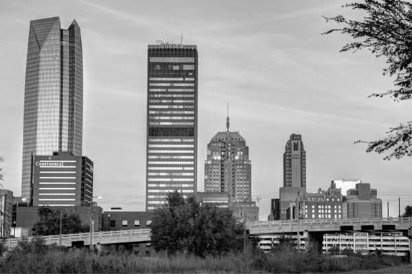 Photograph - The Skyline Of Oklahoma City Bw by Gregory Ballos