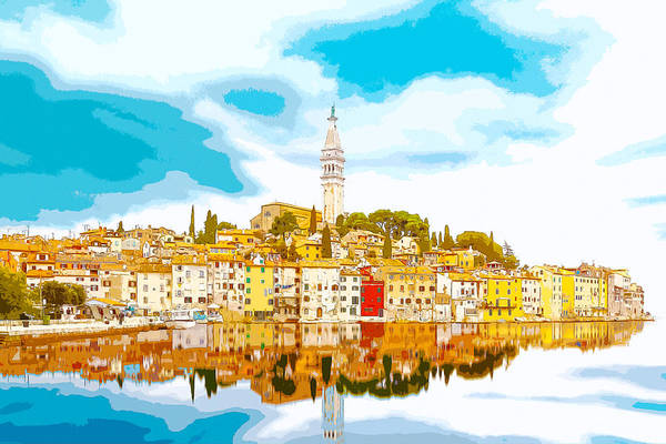 Digital Art - The Skyline Of The Picturesque Fishing Port Of Rovinj/rovigno In by Anthony Murphy
