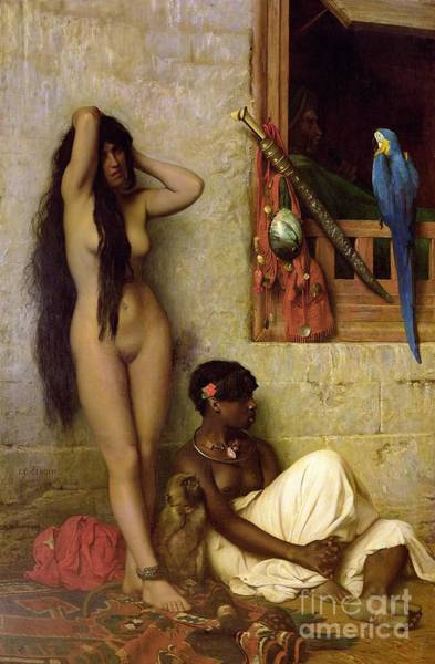 Parrot Painting - The Slave For Sale by Jean Leon Gerome