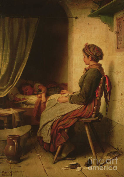 Painting - The Sleeping Child by Johann Georg Meyer von Bremen