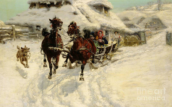 White Horse Painting - The Sleigh Ride by JFJ Vesin