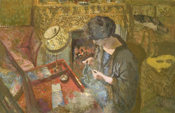 Painting - The Small Drawing-room - Mme Hessel At Her Sewing Table by Edouard Vuillard