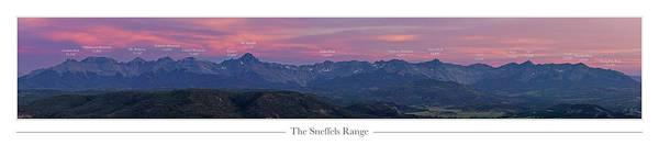 Fourteener Photograph - The Sneffels Range With Peak Labels by Aaron Spong