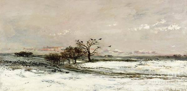 Snow Scene Painting - The Snow by Charles Francois Daubigny