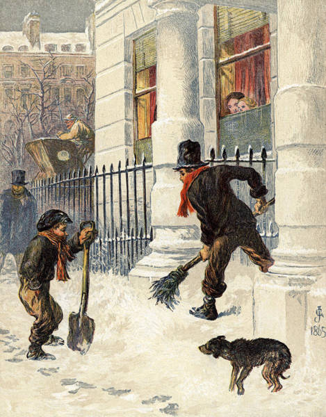 Spade Painting - The Snow Sweepers by English School