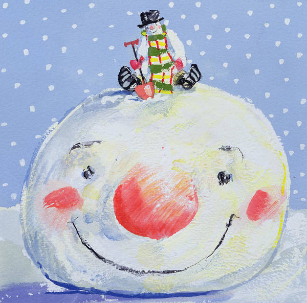 Spade Painting - The Snowman's Head by David Cooke