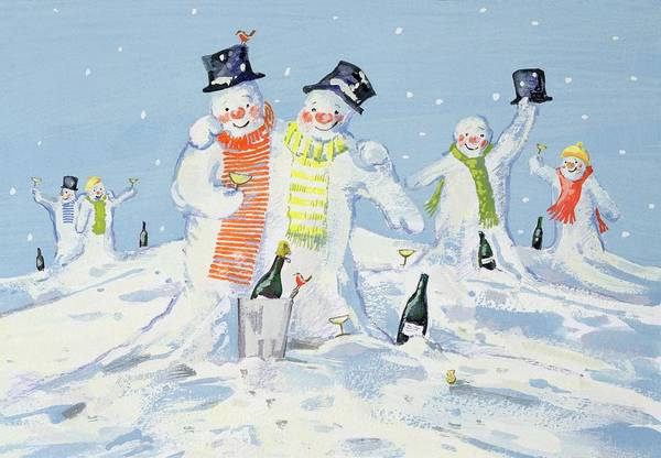 Drunk Painting - The Snowmen's Party by David Cooke