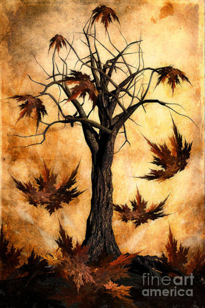 Gold Leaves Digital Art - The Song Of Autumn by John Edwards