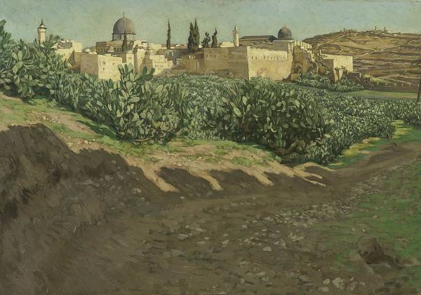 Terrain Painting - The Southwest Corner Of The Esplanade Of The Haram by Tissot