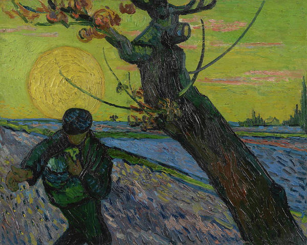Painting - The Sower At Sunset 1888 by Vincent Van Gogh